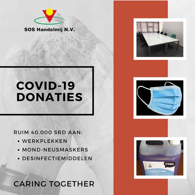 Donaties mondkapjes, desinfectiemiddelen en meubilair